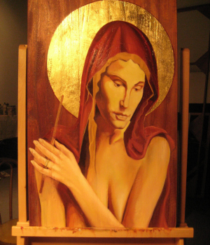 MARY-MAGDALENE-OIL-AND-GOLD-LEAF-ON-AFRICAN-MAHOGONY-2009-scaled